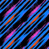 stock photo of diagonal lines  - Multicolor striped pattern with diagonal brushed lines - JPG