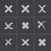 foto of rejection  - Vector black rejected icons set - JPG