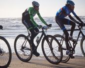 Mountain Bikers Taking Part In The Beach Race Egmond-pier-egmond Ride Along The Sea Shore