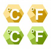Flat Design Celsius And Fahrenheit Symbol Icon Set Isolated On White