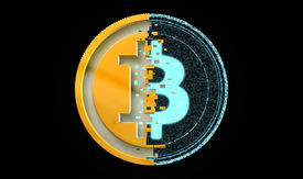 picture of bit coin  - A bit coin concept made out of blue digital pixels on the right and a gold and silver metal on the left on an isolated back background - JPG