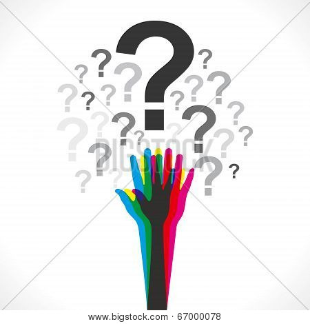 up hand with question mark background vector