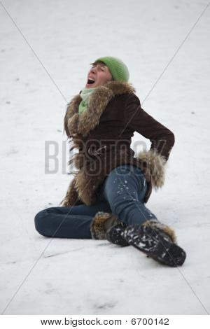 Crying Woman On The Snowy Road