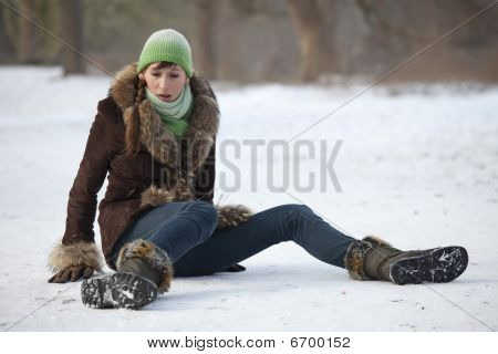 Woman Slips On Snowy Road