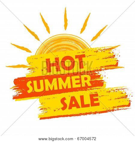 Hot Summer Sale With Sun Sign, Yellow And Orange