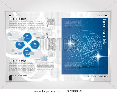 Template for advertising brochure. Editable vector