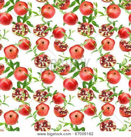 Seamless Pattern Of Pomegranates