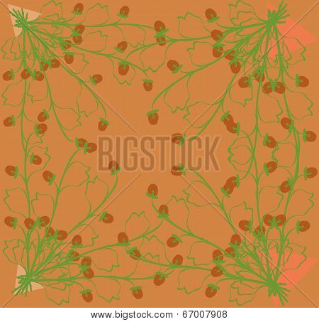 Gathering Herbs Strawberries On A Bright Orange Background.