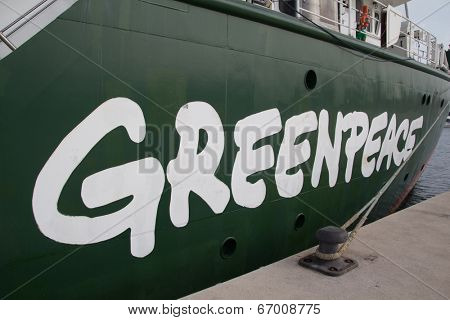 VALENCIA, SPAIN - JUNE 10, 2014: The side of Greenpeace's vessel the