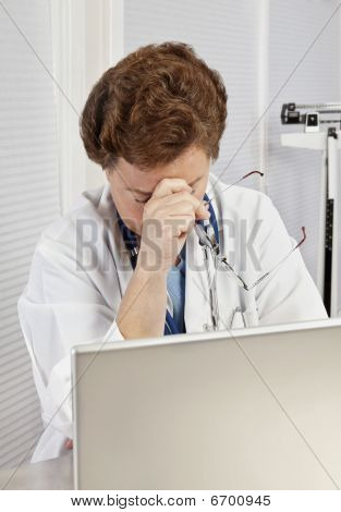 Overworked, Overstressed Female Doctor Or Nurse