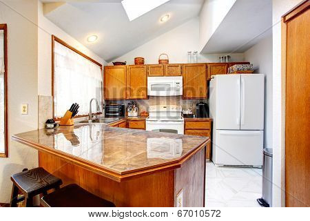 Refreshing Kitchen Room Interior With Skylights