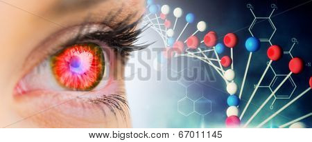 Red glowing eye looking ahead against blue dna strand with chemical structures