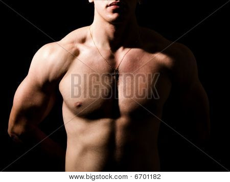 Shirtless Man With Muscular Sexy Body In The Dark