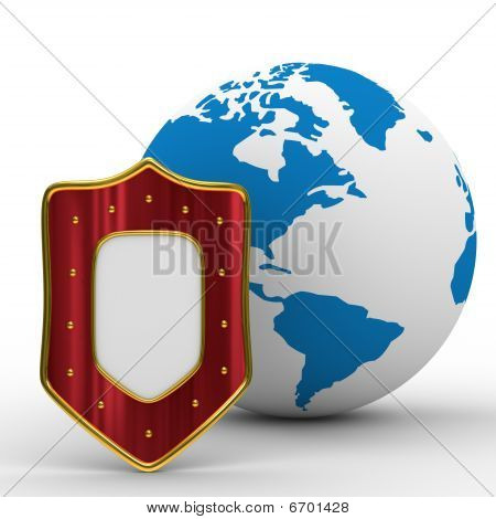 Globe And Shield On White Background. Isolated 3D Image