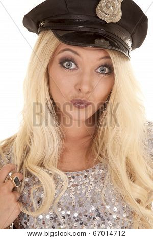 Woman Silver Outfit Police Hat Head Smirk
