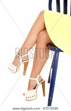 Woman Yellow Skirt Sit Legs