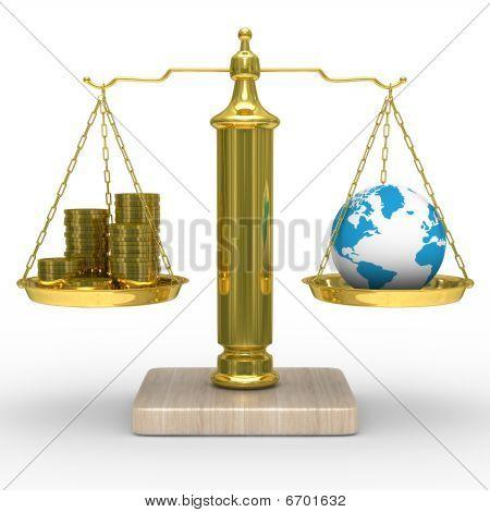 Prémios e o globo em escalas. Isolado de imagem 3D