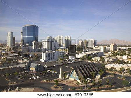 Areal view of Las Vegas with Riviera Casino, Las Vegas Hilton and Stratosphere Tower