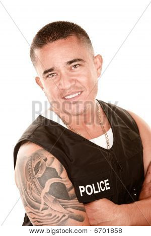 Handsome Hispanic Cop