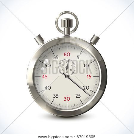 Realistic metallic stopwatch