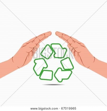 recycle symbol under hand vector