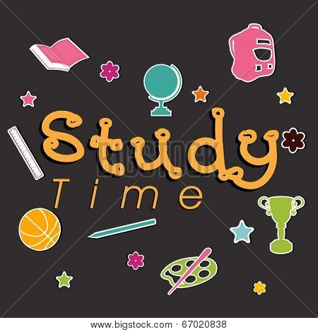 Stylish text Study Time on kiddish study symbols grey background.