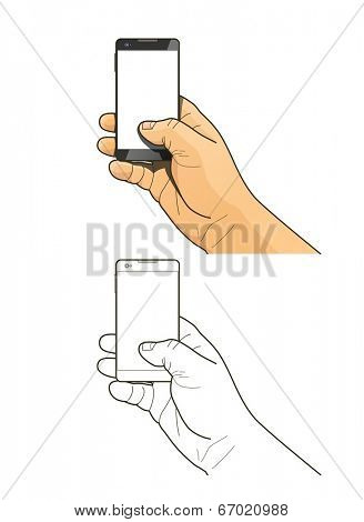 Phone in hand. Eps10 vector illustration. Isolated on white background
