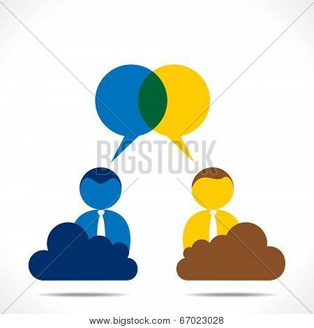 people discussion with message bubble vector