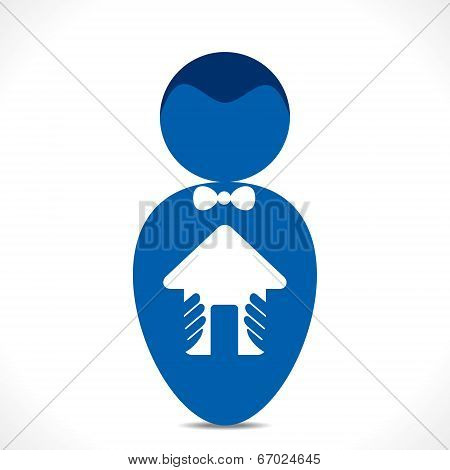 your dream home in hand vector