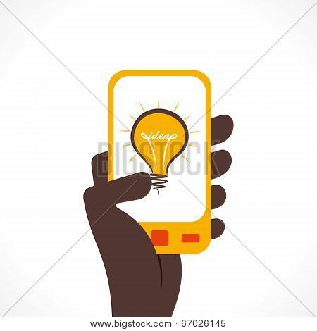 bulb idea icon in mobile  vector