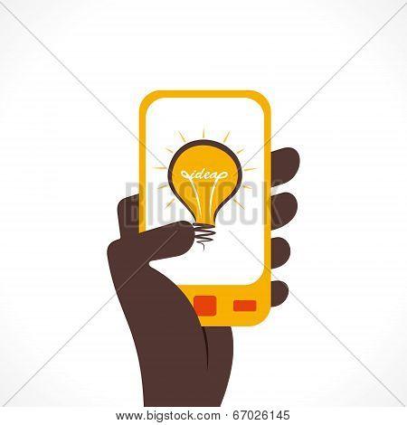 bulb idea icon in mobile  vector