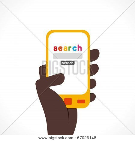 search anything one touch using mobile via internet concept vector