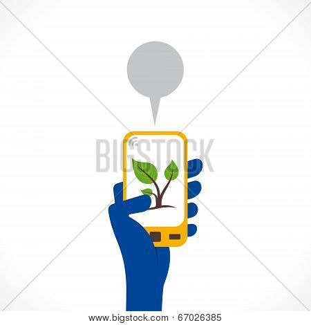 go green or plant symbol display in mobile concept vector