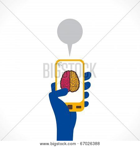 brain symbol or health care apps symbol display in mobile concept vector