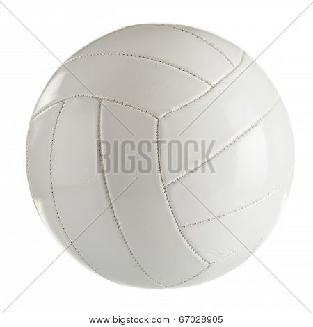 White Leather Volleyball Isolated On A White