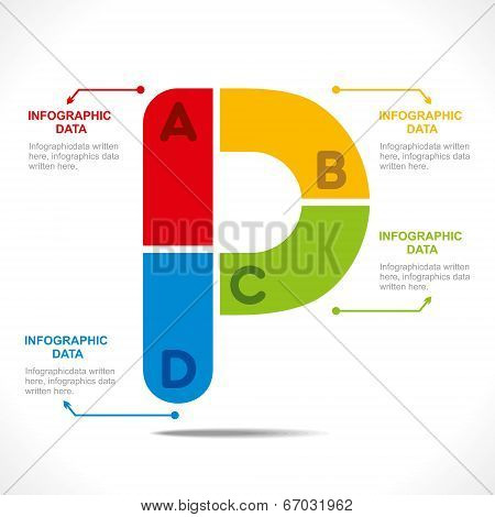 creative alphabet 'P' info-graphics design concept vector