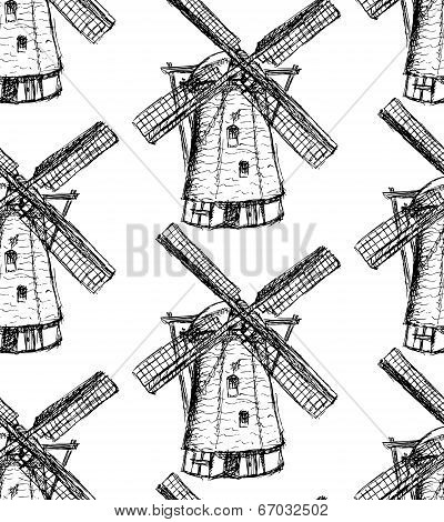 Sketch Holand Windmill, Vector Seamless Pattern