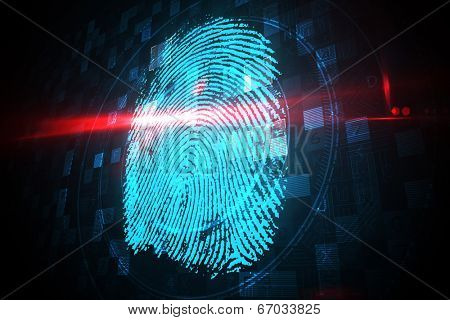 Digital security finger print scan in blue and black