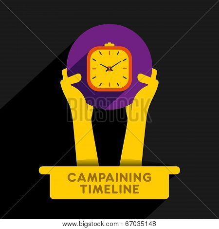 campaigning timeline icon design hold in hand concept vector