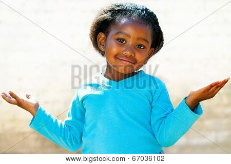 Wondering African Girl With Arms Open.