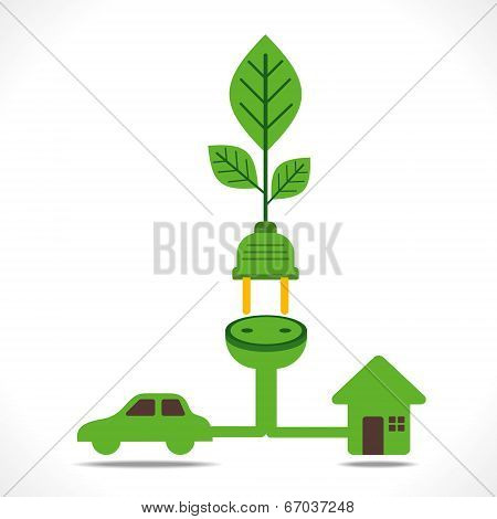 green energy concept or connect to car