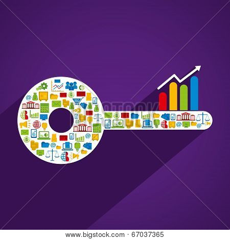 creative key design with business related icon design concept