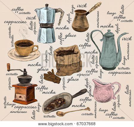 Vintage coffee handdrawn set