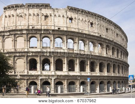 Tourists Visiting The Colosseum