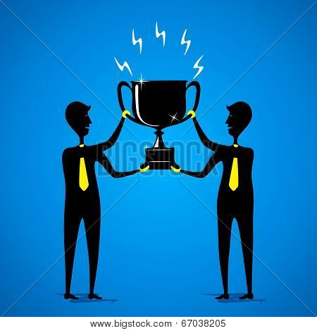 big winning trophy or celebrate success concept