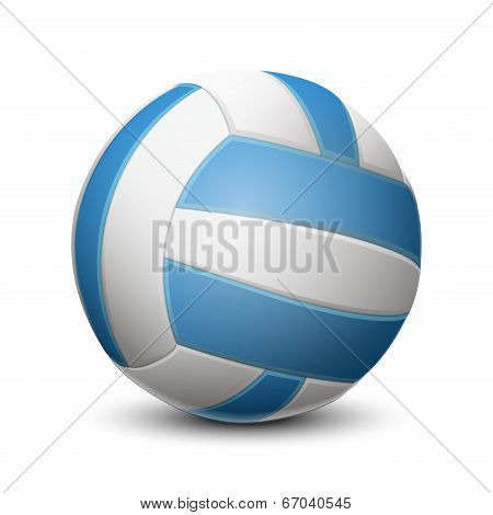 Blue Volleyball Ball Isolated On White Background. Vector Illustration
