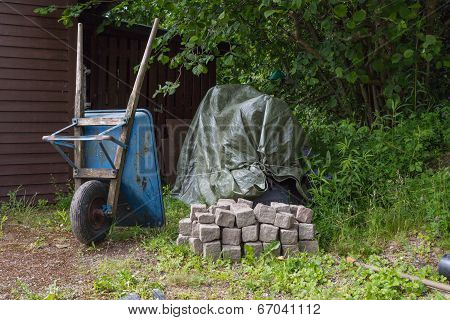 Paving Stone And A Wheelbarrow
