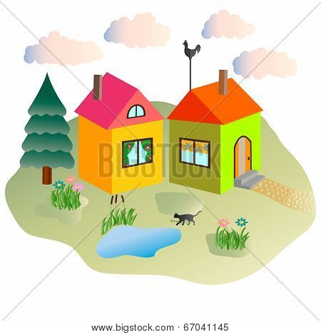 rural lodges and the cat walking in the yard