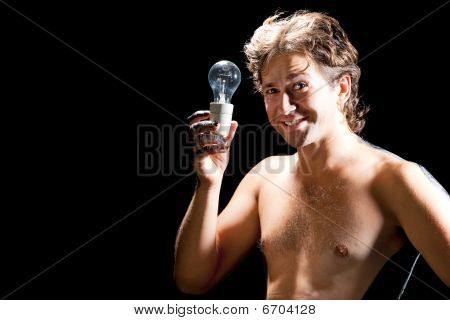 handsome man with electric lamp
