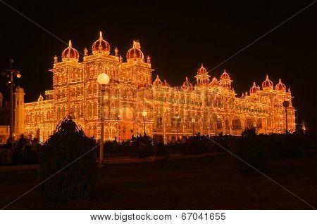 Mysore Palace in India illuminated at night